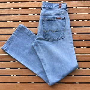 7FAM Light Wash Flare Jeans, Size 29